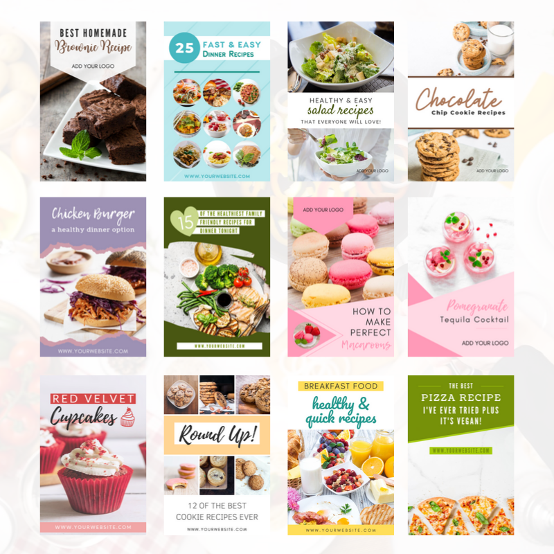 Pinterest Pin Design Templates for Food Bloggers